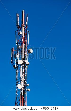 cell tower and blue sky, symbol of communication, mobility, wireless traffic