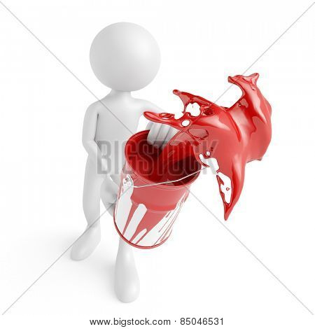 White 3D guy splashing red paint from a bucket (3D Rendering)