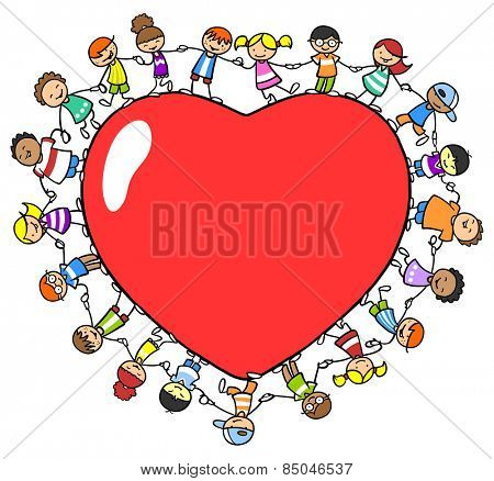 Many different kids holding hands around a red love heart