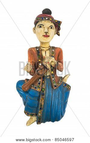 Asian vintage wood carving doll playing drum