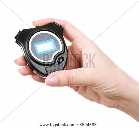 Electronic sport timer in  female hand isolated on white
