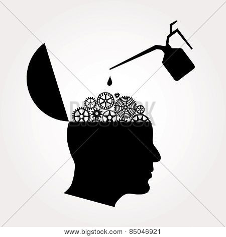 symbolic illustration with open gears brain and oil can
