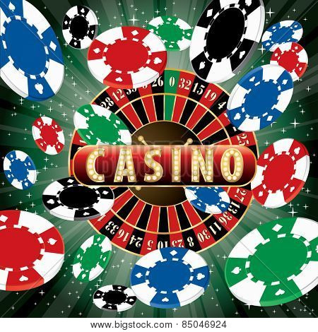 casino vector abstract illustration with roulette and burst of chips