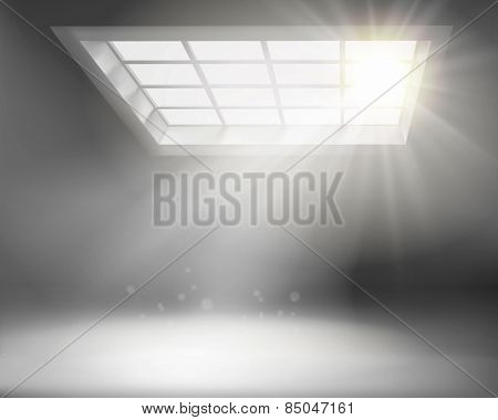Interior with large window. Vector illustration.