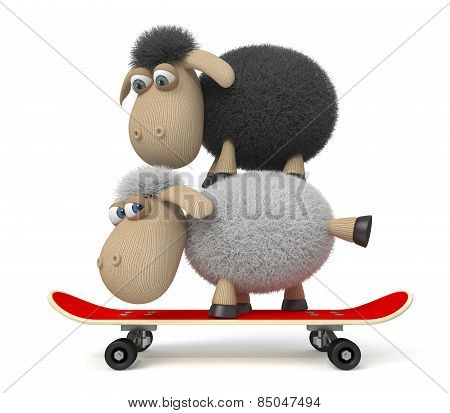 3D Sheep On A Skateboard