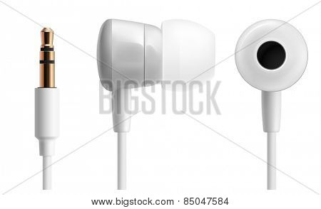 White headphones close up isolated on white. Vector illustration