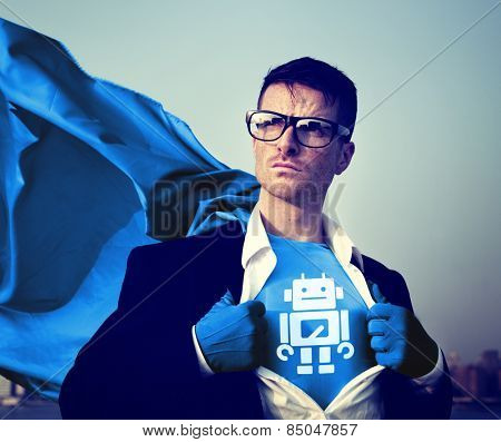Robot Strong Superhero Success Professional Empowerment Stock Concept