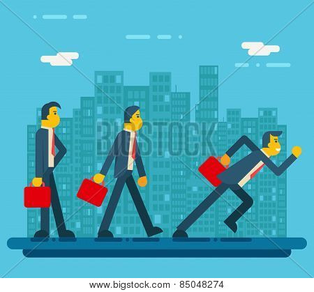 Businessman Characters Standing Walking Running Urban Landscape City Street Background Flat Design V