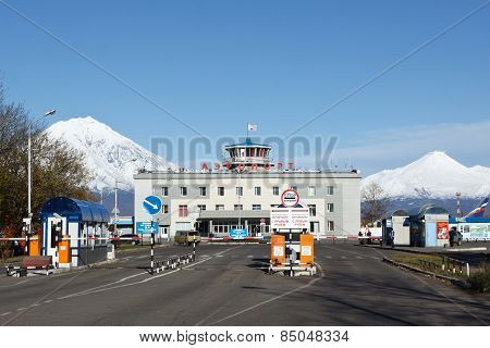 View Of Petropavlovsk Kamchatsky Airport On Background Volcano. Russia, Far East, Kamchatka Peninsul