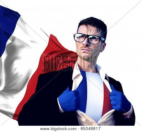 Superhero Businessman French Isolated Concept