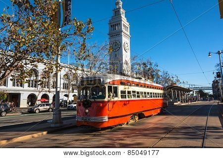 The red tram at the Embarcadero, San Francisco