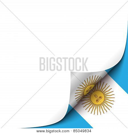 Curled up Paper Corner on Argentianian Flag Background.Vector Illustration