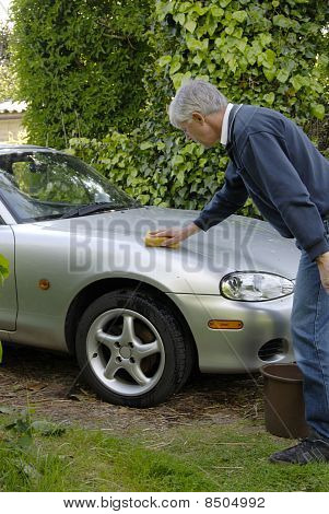 Man Washing Sports Car