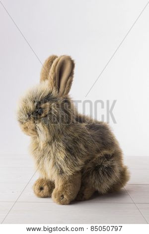 Stuffed bunny rabbit on wooden floor
