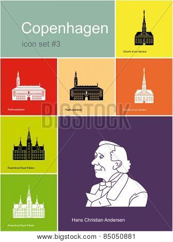 Landmarks of Copenhagen. Set of color icons in Metro style. Raster illustration.