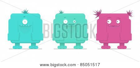 Vector illustration of three funny monsters