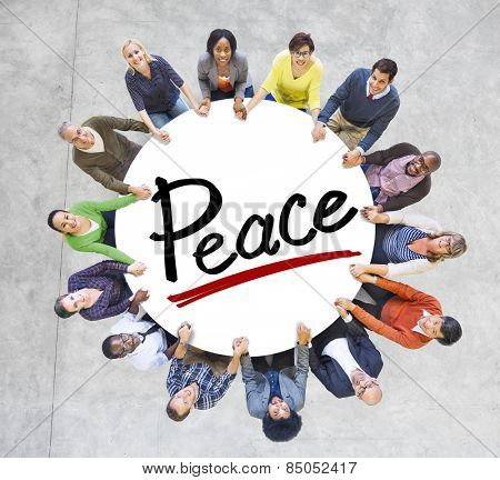 Group of People Holding Hands Around Letter Peace Concept