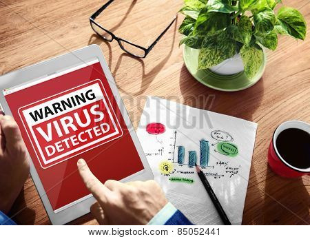 Digital Device Wireless Browsing Warning Virus Detected Concept