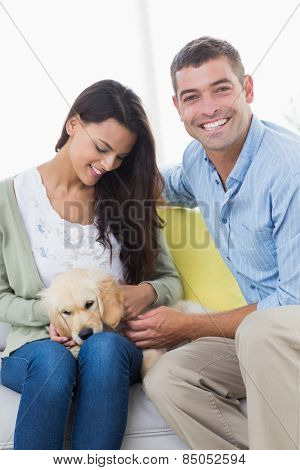 Happy couple playing with puppy on sofa at home