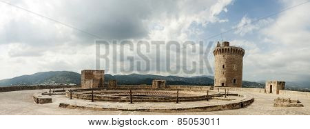 Panoramic view of Bellver Castle fortress in Palma de Mallorca, Spain