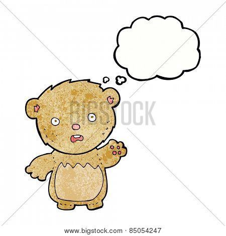 cartoon worried teddy bear with thought bubble