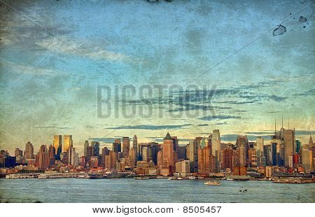 Grunge New York City Over Hudson River Skyline