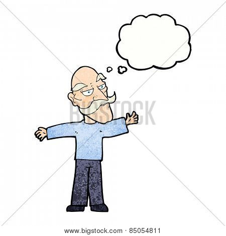 cartoon old man with thought bubble