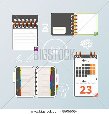 Colorful notebook and calendar set