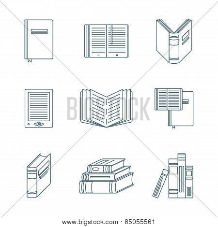 Dark Outline Books Icons Set