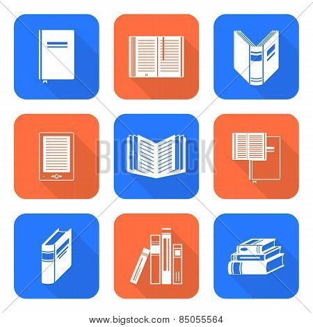White Color Flat Style Books Icons Set