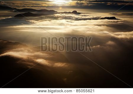 Amazing sunrise seen from Adam's Peak - sacred buddhist place. Sri Lanka