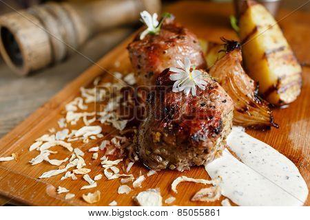 Tasty beef steak medium rare