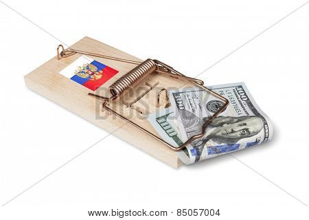 Russian mouse trap with dollar bill isolated over white with clipping path.