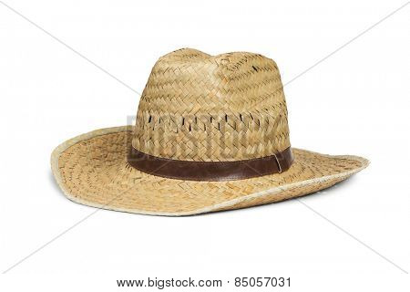 Men's straw cowboy hat isolated on white with clipping path