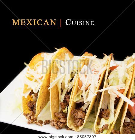 Mexican Cuisine Concept With A Plate Of Beef Tacos On Dark Background With  Copy Space