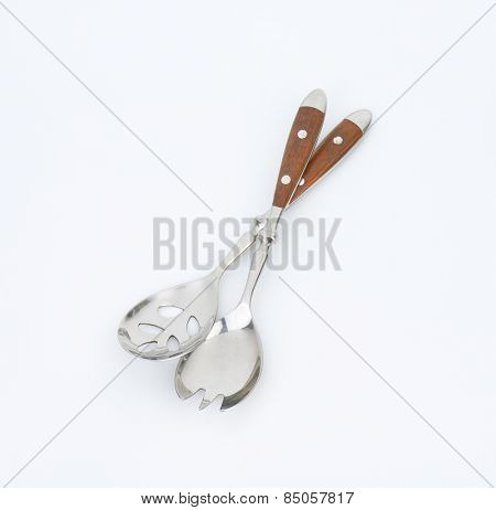 salad servers with wooden handle on white background