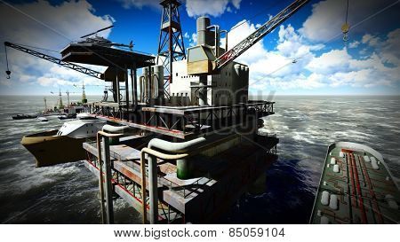Oil rig  platform at sunset