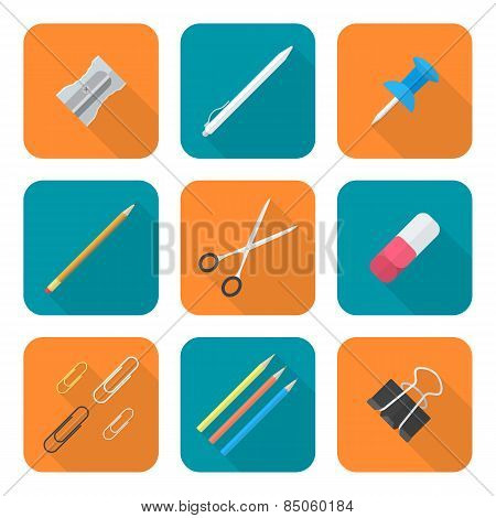 Colored Flat Style Various Stationery Icons Set