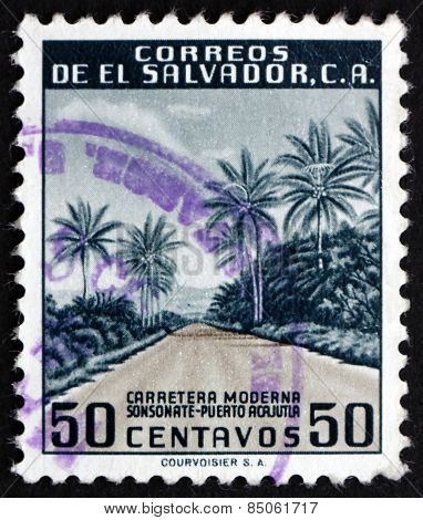 Postage Stamp El Salvador 1954 Modern Highway
