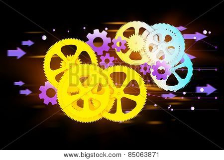 colorful gears and cog wheel on a dark background