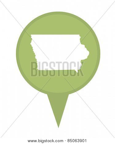 American state of Iowa marker pin isolated on a white background.