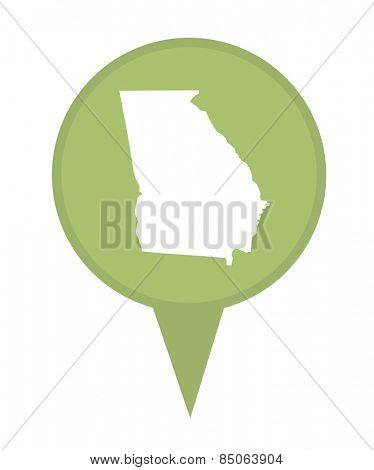 American state of Georgia marker pin isolated on a white background.