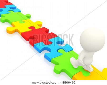 3D Man Walking On Puzzle