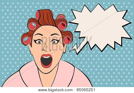 Beautiful brunet retro woman screaming. Vintage art.