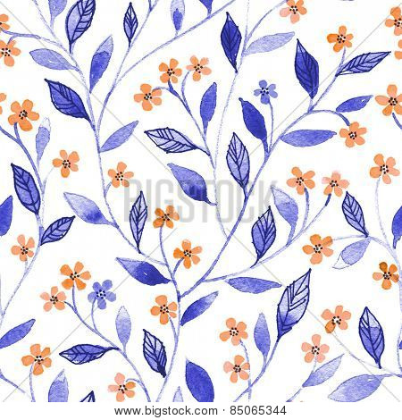 Watercolor seamless pattern with styled blossoms