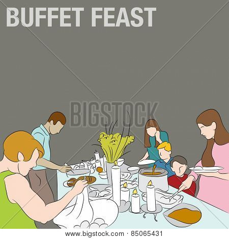 An image of people serving their plates from a holiday buffet table.