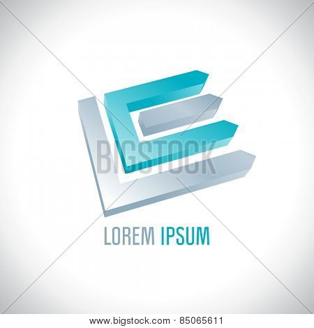 3D abstract logo resembling letters L and E.