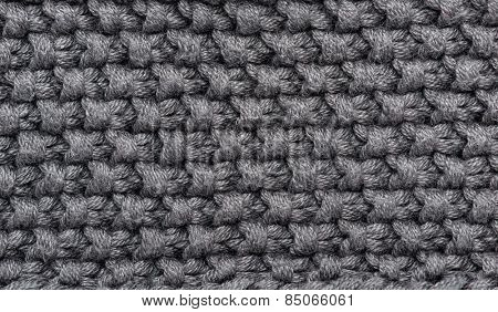 grey knitted wool macro photo