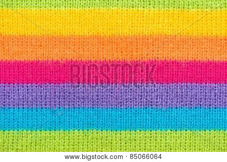 colorful striped knitted wool macro photo