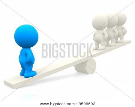 3D People On Seesaw